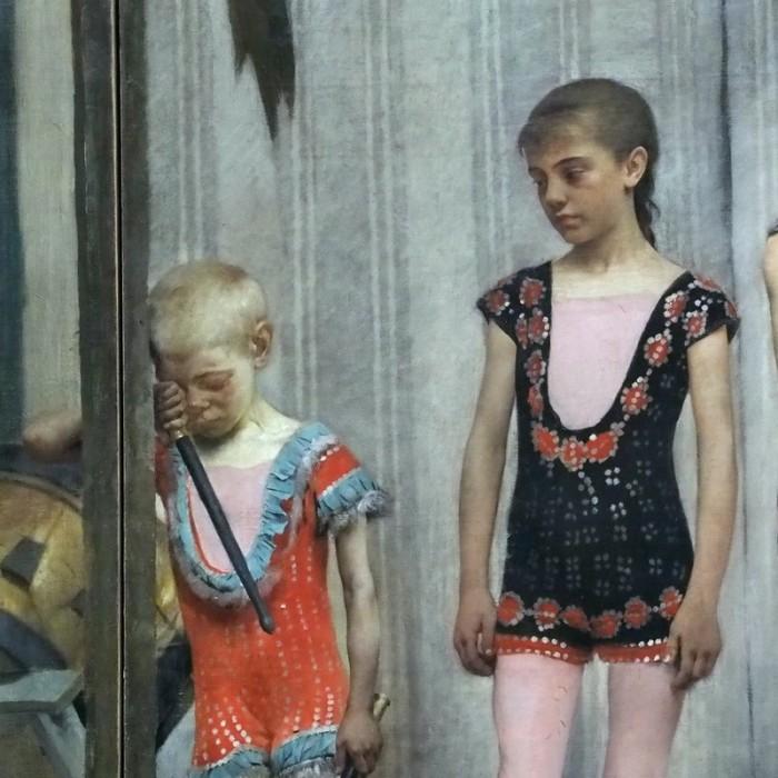Бродячие артисты /фрагмент/. Девочка смотрит на уставшего или плачущего мальчишку, что не успел ещё очерстветь. Автор: Fernand Pelez.