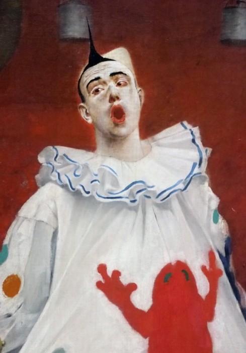 Бродячие артисты /фрагмент/. Клоун, лишённый настоящих чувств и эмоций. Автор: Fernand Pelez.