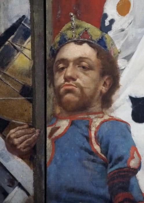 Бродячие артисты /фрагмент/. Карлик, взирающий с королевским достоинством на мир и зрителя сверху вниз. Автор: Fernand Pelez.