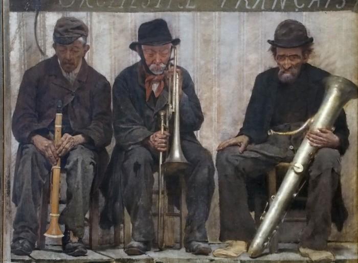 Бродячие артисты /фрагмент/. Французский оркестр - завершающий сюжет картины, её самая тёмная и самая тяжёлая часть. Автор: Fernand Pelez.