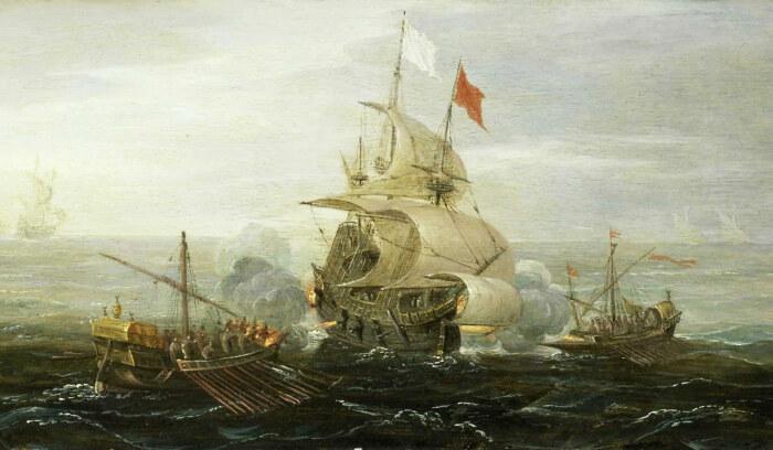 Французский корабль и берберские пираты, Арт Антонис, 1615 год. \ Фото: google.com.ua.