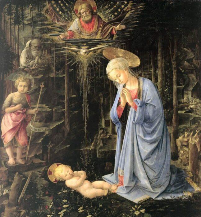 Поклонение в лесу или Мистическое Рождество, Филиппо Липпи, 1459 год. \ Фото: pinterest.com.
