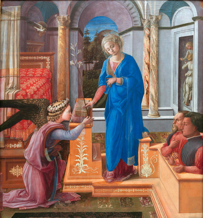 Благовещение с двумя коленопреклоненными жертвователями, Филиппо Липпи, 1435 год. \ Фото: en.wikipedia.org.