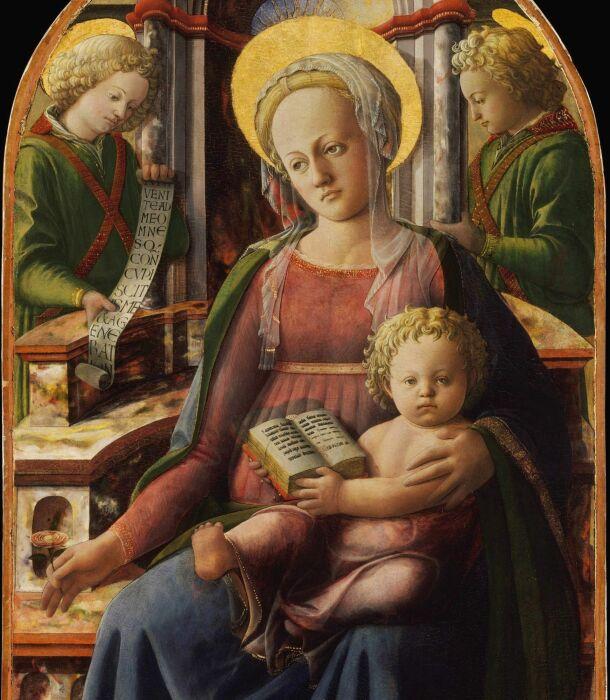 Мадонна с младенцем на троне с двумя ангелами, Филиппо Липпи, 1440 год. \ Фото: ilraccontodellarte.com.