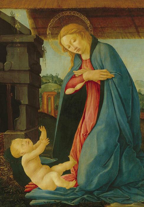 Дева, поклоняющаяся младенцу, Сандро Боттичелли, 1480 год. \ Фото: pixels.com.