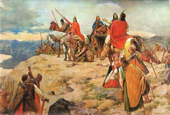 Прибытие хорватов (Приход хорватов), Отон Ивекович, 1905 год. \ Фото: gimagm.hr.