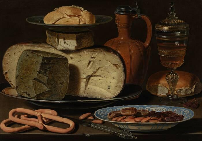 Натюрморт с сыром, миндалём и крендельками, Клара Петерс, 1615 год. \ Фото: myprivacy.dpgmedia.nl.