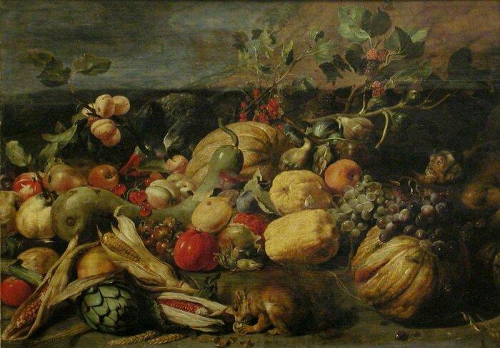 Фрукты и овощи с обезьяной, попугаем и белкой, Франс Снейдерс, 1620 год. \ Фото: twitter.com.