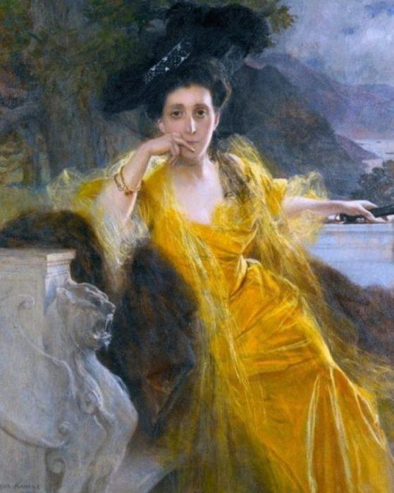 Портрет светской дамы. Автор: Francois Flameng.