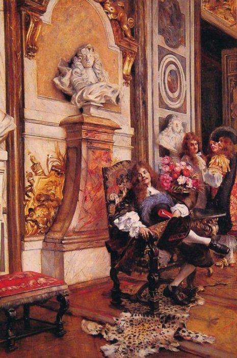 Мольер, требующий аудиенции у короля Луи XIV в Версале. Автор: Francois Flameng.
