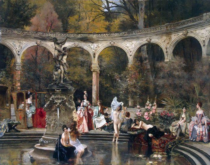 Купание придворных дам в 18 веке. Автор: Francois Flameng.