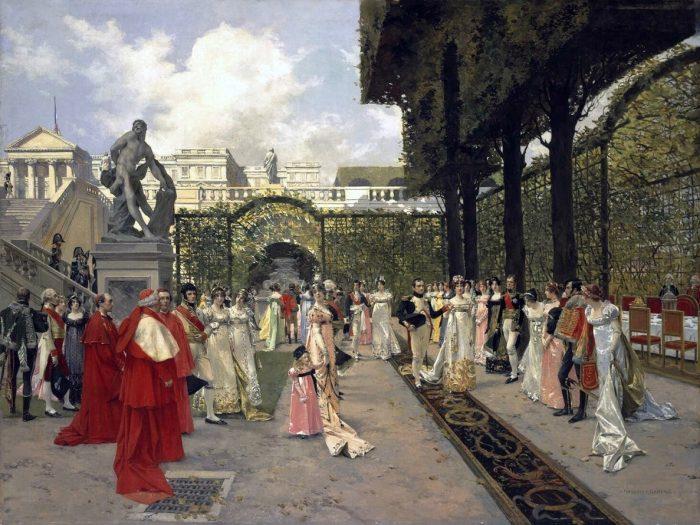 Наполеон I и папа Римский в Сен-Клу в 1811 году. Автор: Francois Flameng.