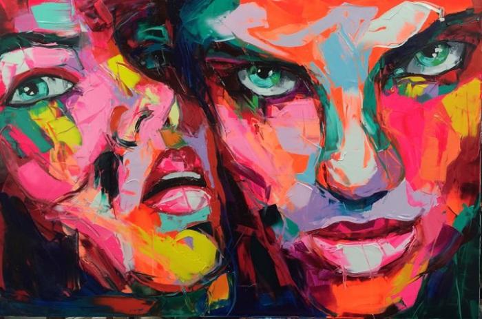 Яркие эмоциональные портреты, выполненные мастихином. Автор картин: Франсуаза Нилли (Francoise Nielly).