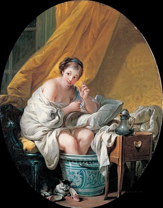Молодая женщина принимающая ванночки для ног. Автор: Francois Boucher.
