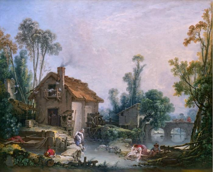 Пейзаж с водяной мельницей. Автор: Francois Boucher.