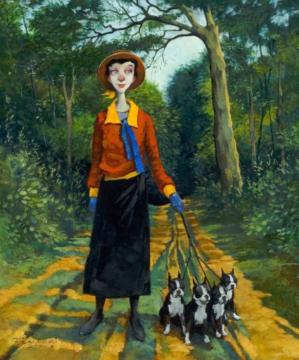 Женщина с собачками. Автор: Fred Calleri.