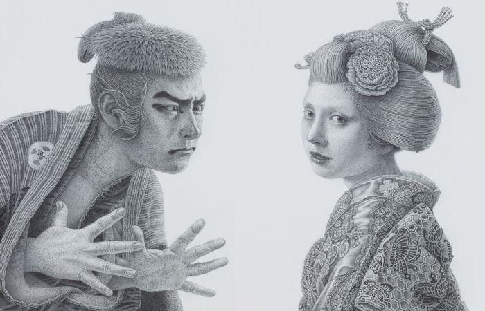 Шараку и «Девушка с серёжкой» по-японски. Автор: Futaro Mitsuki.