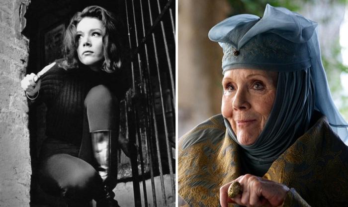 Дайана Ригг в роли Эммы Пил в сериале «Мстители» (1961) и Оленны Тиррел в сериале «Игра престолов».
