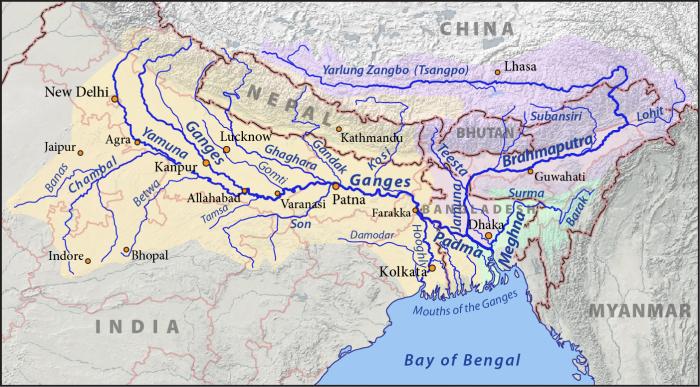Карта объединённых водосборных бассейнов Ганга (жёлтый), Брахмапутры (фиолетовый) и Мегхны (зелёный). \ Фото: viralfactsindia.com.
