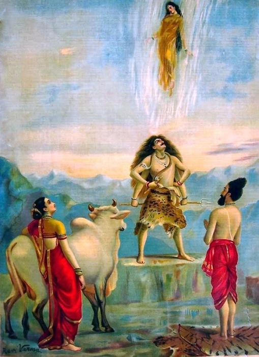 Спуск Ганги - картина Раджи Рави Вармы. \ Фото: gangadharamalaga.blogspot.com.