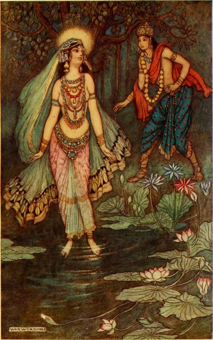 Шантану встречает богиню Гангу - изображение Уорика Гобла, 1913. \ Фото: kn.wikipedia.org.