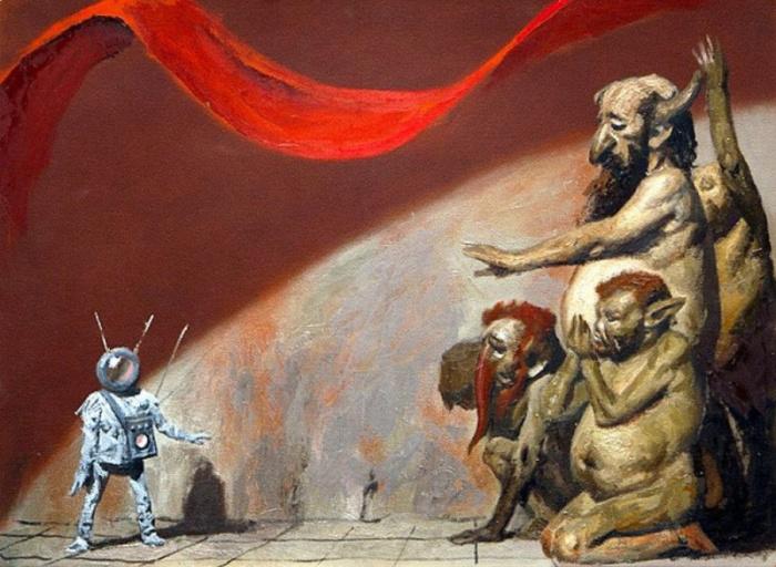 Тюрлики и инопланетянин. Ðскиз, 1986 год. Автор: Гелий Коржев.