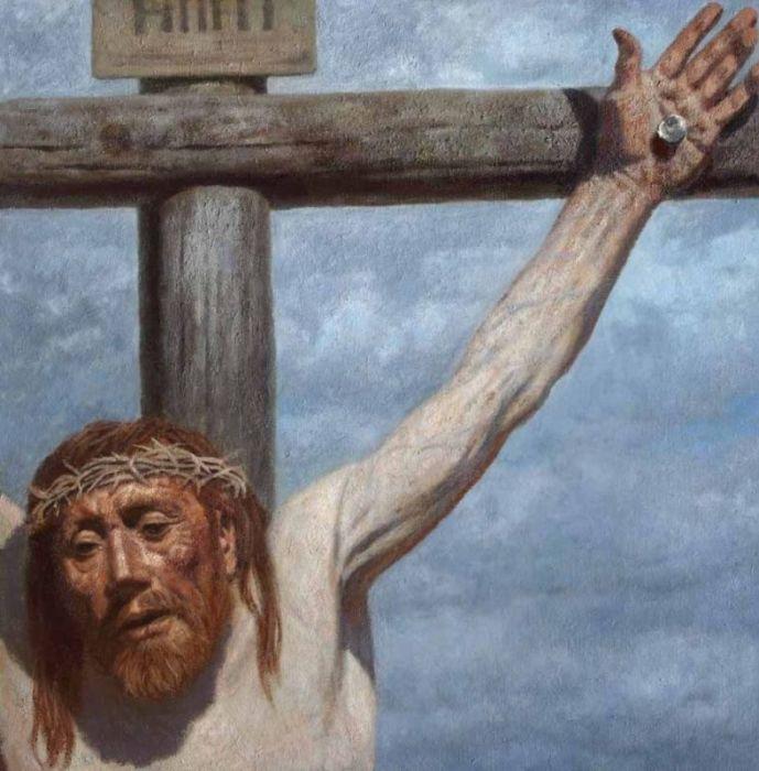 На кресте, 1998 год. Автор: Гелий Коржев.