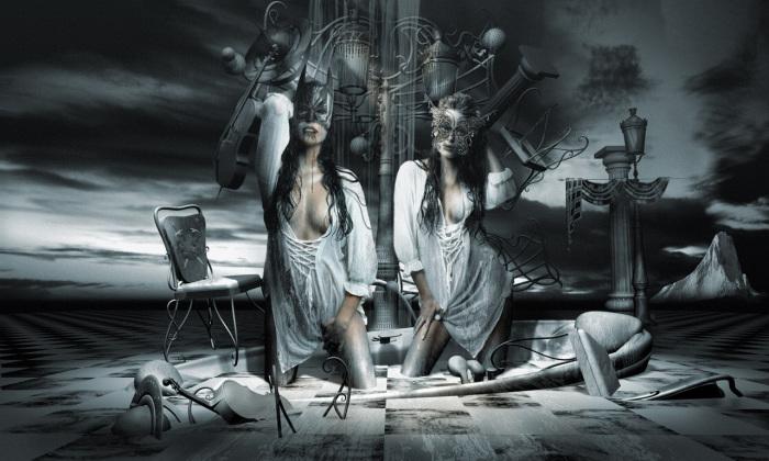 Красавица и чудовище: диссоциативное расстройство идентичности. Работы художника нео-сюрреалиста Джоржа Грие (Georg Grie).