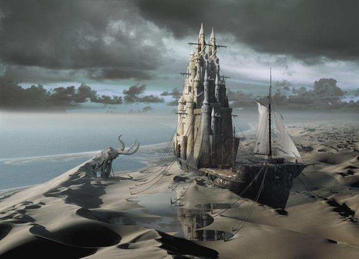 Замок из песка. Работы художника нео-сюрреалиста Джоржа Грие (Georg Grie).