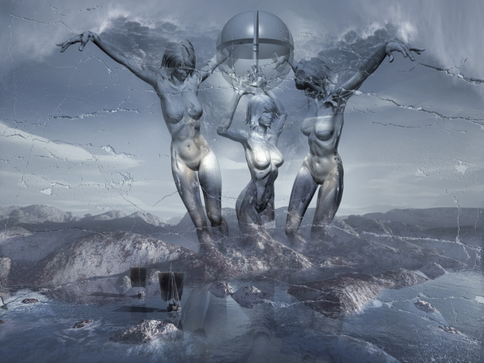 Три Грации. Работы художника нео-сюрреалиста Джоржа Грие (Georg Grie).