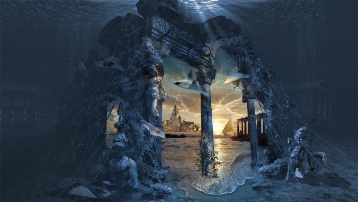 Затерянный город Атлантида или тайна легенды Атлантиды. Работы художника нео-сюрреалиста Джоржа Грие (Georg Grie).