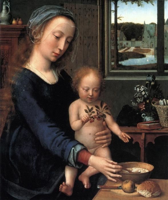 Мадонна с ребёнком и молочным супом. Автор: Gerard David.