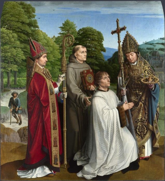 Бернардин Сальвиати и трое СвятыÑ. Автор: Gerard David.