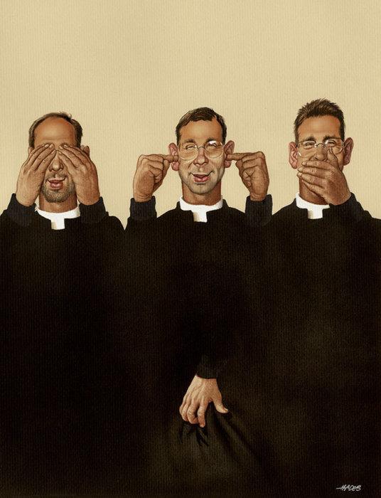 Ничего не виду, ничего не слышу, ничего не скажу. Автор: Gerhard Haderer.