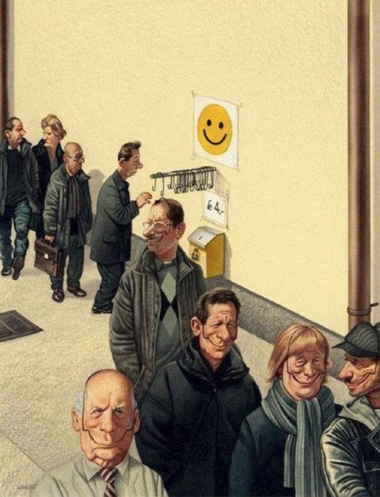 Надо улыбаться, чтоб живым казаться. Автор: Gerhard Haderer.