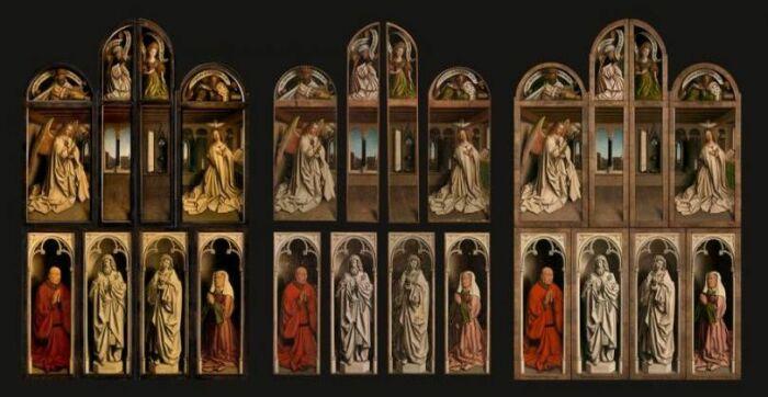Гентский алтарь (закрытые створки). Слева направо: До, во время и после реставрации, Ян ван Эйк, 1432 год. \ Фото: pinterest.ru.
