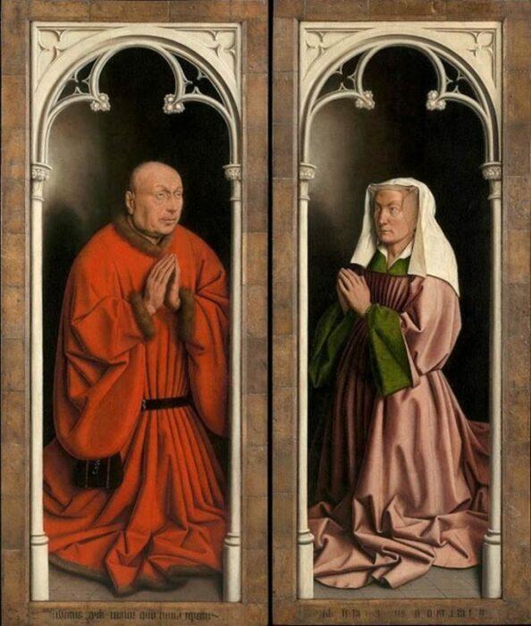 Деталь: Портреты доноров (жертвователей) на Гентском алтаре (закрытые створки), Ян ван Эйк, 1432 год. \ Фото: designcrew.io.