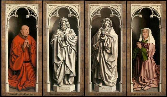 Детали: Портреты  доноров и статуи в технике гризайль, Гентский алтарь (закрытые створки), Ян ван Эйк, 1432 год. \ Фото: diogenpro.com.