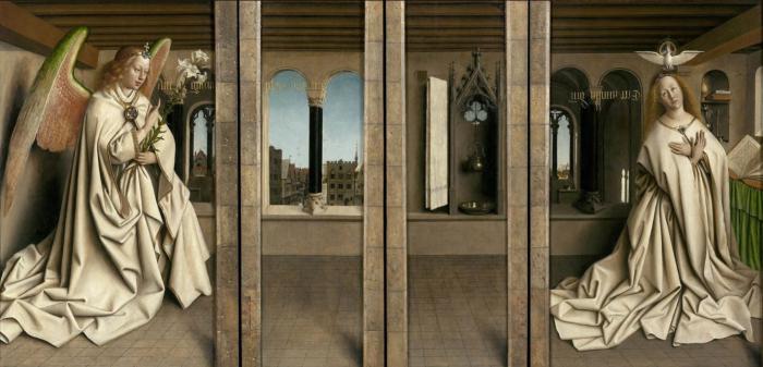 Деталь: Благовещение, Гентский алтарь (закрытые створки), Ян ван Эйк, 1432 год. \ Фото: pinterest.ru.