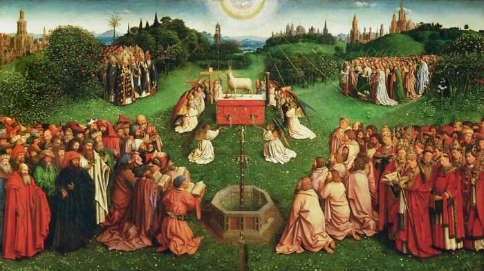 Деталь: Агнец Божий на алтаре, Гентский алтарь (открыт), Ян ван Эйк, 1432 год. \ Фото: sahindogan.com.
