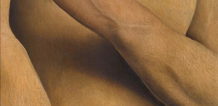 Деталь Адама,  Гентский алтарь (открыт), Ян ван Эйк, 1432 год. \ Фото: google.com.