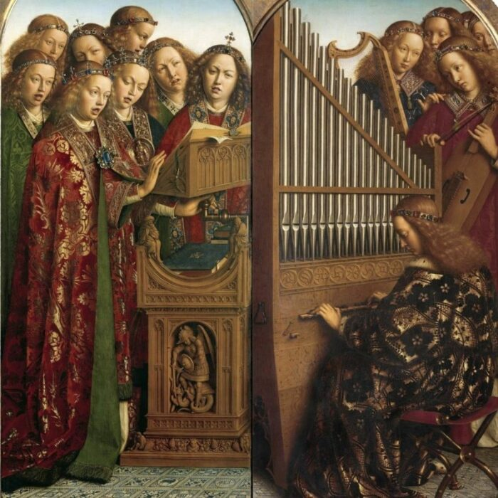 Деталь: Музыканты (портреты доноров), Гентски алтарь (открыт), Ян ван Эйк, 1432 год. \ Фото: twitter.com.