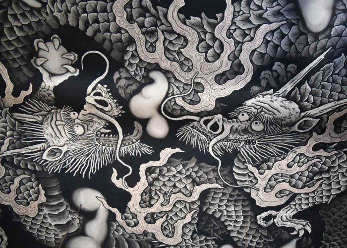 Изображение драконов на потолке. \ Фото: japanobjects.com.