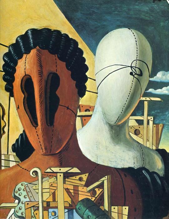 Две маски, 1926 год. Автор: Giorgio de Chirico.