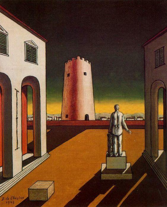 Пьяцца д'Италия с красной башней, 1943 год. Автор: Giorgio de Chirico.