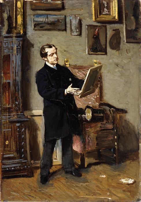 Автопортрет во время разглядывания картины, 1865 год. Автор: Giovanni Boldini.