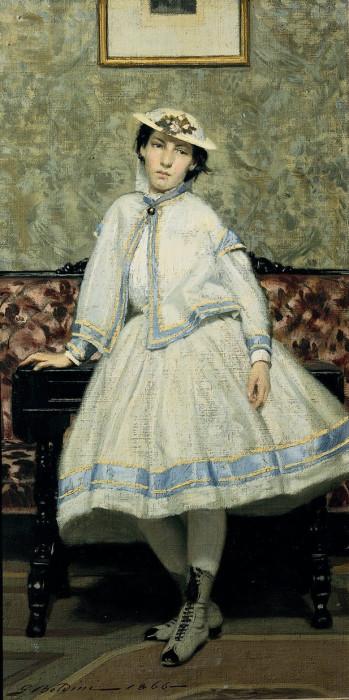 Портрет Алаиды Банти в белом платье, 1866 год. Автор: Giovanni Boldini.