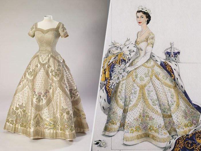 Коронационное платье Королевы Елизаветы II, июнь 1953 год. \ Фото: refashioninghistory.com.