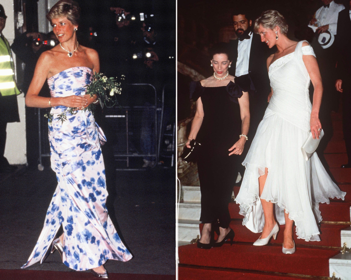 Слева:  Принцесса Диана в платье с цветочным принтом, январь 1989 год. \ Справа: <br>Белое шифоновое платье: 85 000 $. \ Фото: money.com.