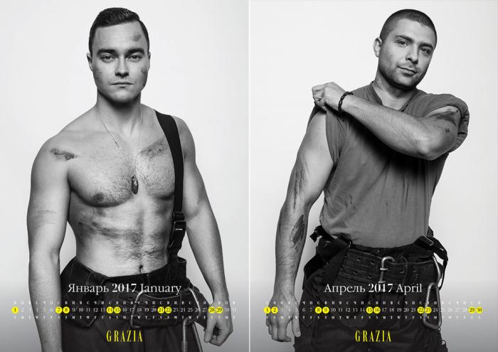 Самые сексуальные пожарные Москвы в благотворительном календаре Grazia.